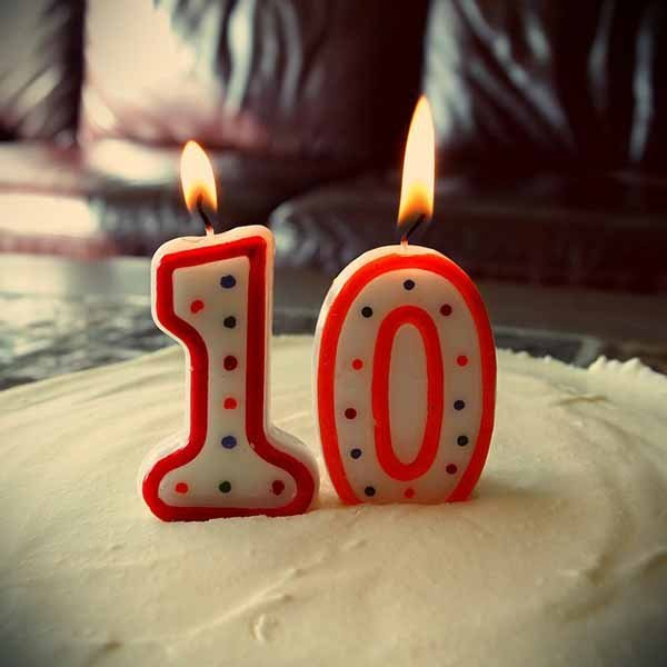 fire, ten, cake, birthday, number
